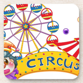 A clown with a circus signage and a ferris wheel a coasters