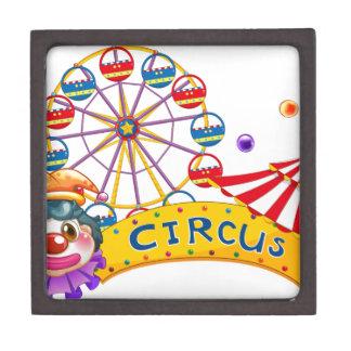 A clown with a circus signage and a ferris wheel a premium trinket box