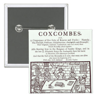 A Cluster of Coxcombes' by John Taylor 2 Inch Square Button