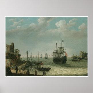 A Coastal Landscape, Abraham Willaerts Poster