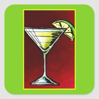 A Cocktail Drink in a Martini Glass with Lime Square Sticker