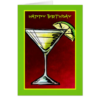 A Cocktail Glass Sketch Happy Birthday Card