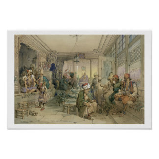 A Coffee House, Constantinople, 1854 (pen & ink & Poster