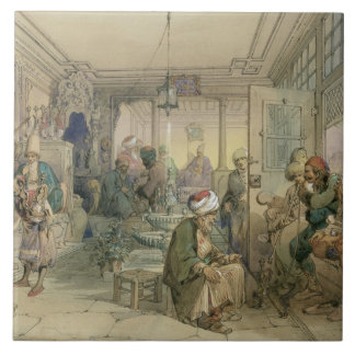 A Coffee House, Constantinople, 1854 (pen & ink & Ceramic Tiles