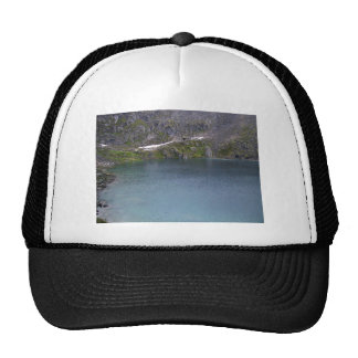 A cold mountain lake trucker hats