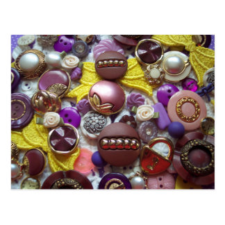 A Collage of Pretty Purple Buttons Postcard