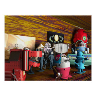 A Collection of 3D Vintage Space Toys Print