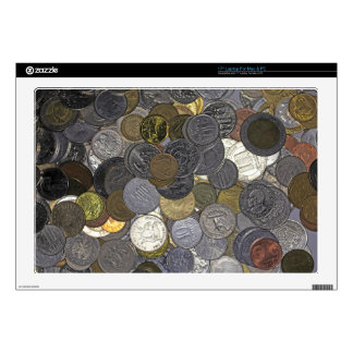 A collection of old and international coins laptop skins