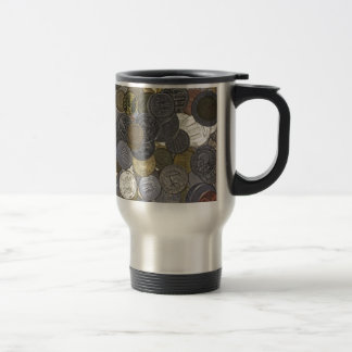A collection of old and international coins travel mug