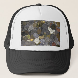 A collection of old and international coins trucker hat