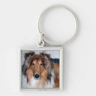 A Collie Silver-Colored Square Keychain