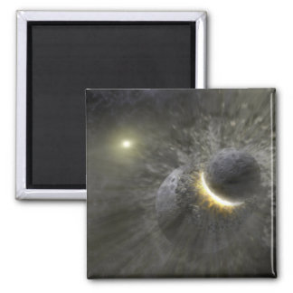 A collision between massive objects in space 2 inch square magnet