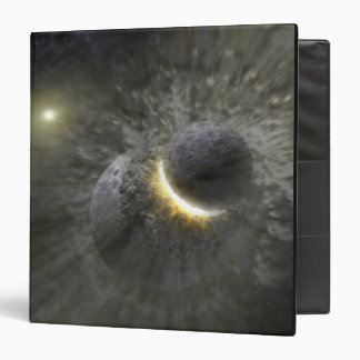 A collision between massive objects in space binder