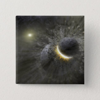 A collision between massive objects in space pinback button