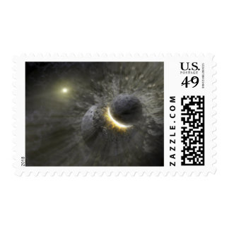 A collision between massive objects in space postage