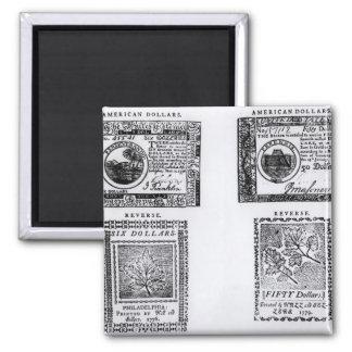A colonial six dollar bill magnet