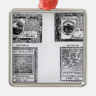 A colonial six dollar bill metal ornament