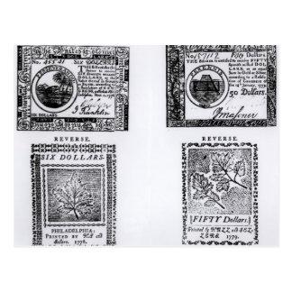 A colonial six dollar bill postcard