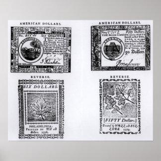 A colonial six dollar bill print