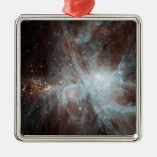A colony of hot young stars in the Orion Nebula Square Metal Christmas Ornament