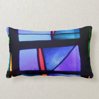 A color abstract purple and blue tones lumbar pillow