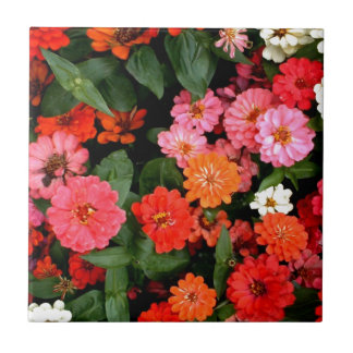 A colorful and stunning display of flowers small square tile