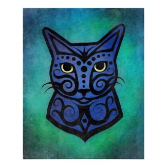 A Colorful Cat #2 Illustration with Bold Lines Poster
