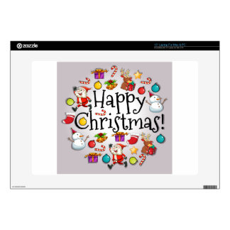 A colorful christmas template with Santa Claus Laptop Decals
