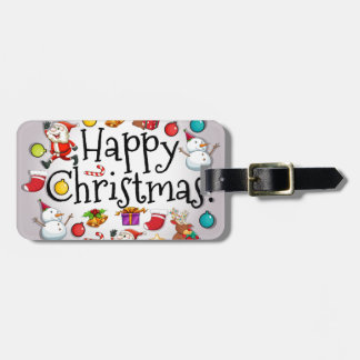 A colorful christmas template with Santa Claus Luggage Tag
