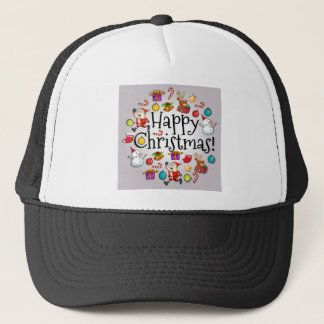 A colorful christmas template with Santa Claus Trucker Hat