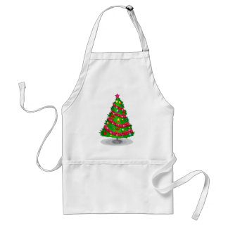 A colorful christmas tree adult apron