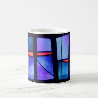 A colorful collage coffee mug