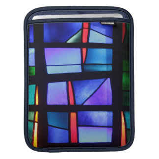 A colorful collage in blue tones and shapes sleeve for iPads