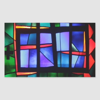 A colorful collage rectangular sticker