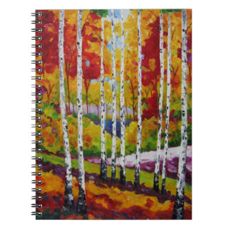 A Colorful Family of Aspen Trees by Lisa V Maus Notebook