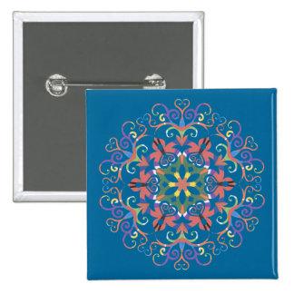 A colorful filigree Kaleidoscope Button