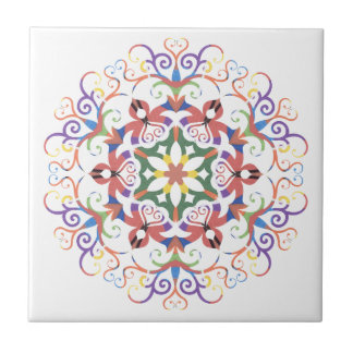 A colorful filigree Kaleidoscope Ceramic Tile