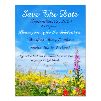 """A colorful of Wildflower Save the Date invite 4.25"""" X 5.5"""" Invitation Card"""