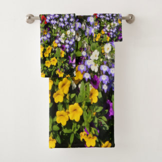 A Colorful Pastiche of Summer Annual Flowers Bath Towel Set