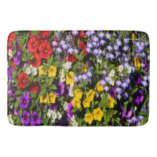 A Colorful Pastiche of Summer Annual Flowers Bathroom Mat