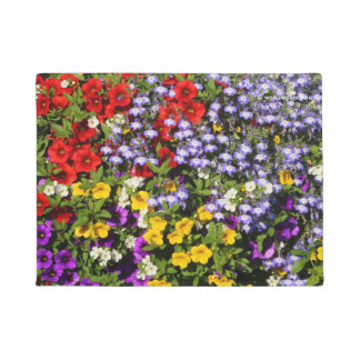 A Colorful Pastiche of Summer Annual Flowers Doormat