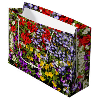 A Colorful Pastiche of Summer Annual Flowers Large Gift Bag