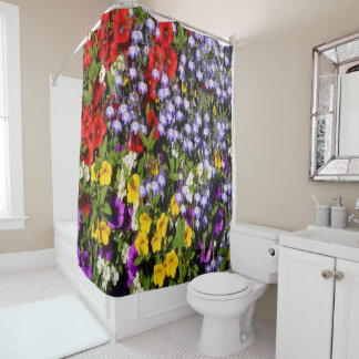 A Colorful Pastiche of Summer Annual Flowers Shower Curtain