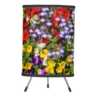 A Colorful Pastiche of Summer Annual Flowers Tripod Lamp