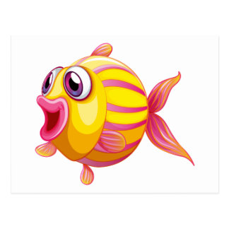 A colorful pouty fish postcard