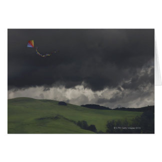 A colorful rainbow kite drifts cheerfully greeting card