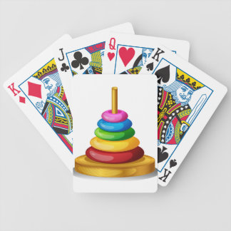 A colorful round toy bicycle playing cards