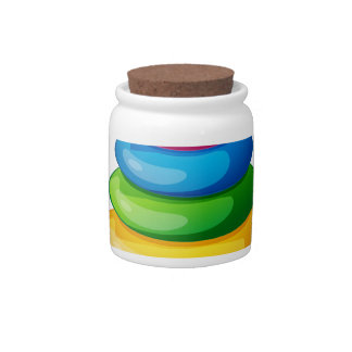 A colorful round toy candy dish
