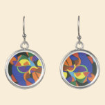 A colourful abstract design earrings