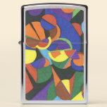 A colourful abstract design zippo lighter